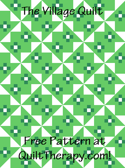 """The Village Quilt Free Pattern for a 36"""" x 48"""" quilt at QuiltTherapy.com!"""