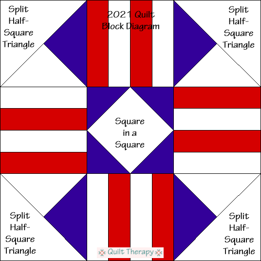"""2021 Quilt Block Diagram Free Pattern for 12"""" finished quilt block at QuiltTherapy.com!"""