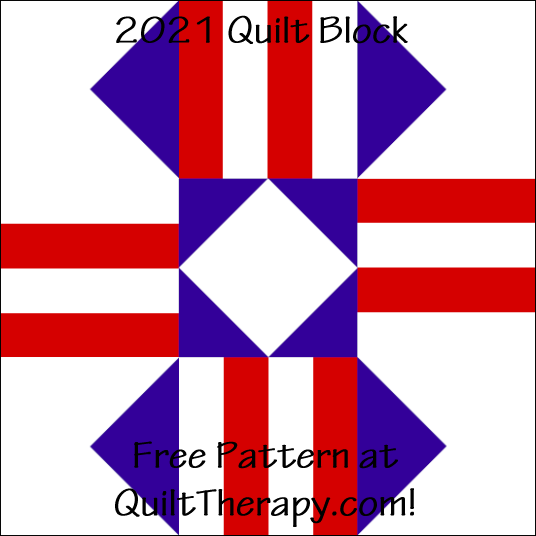 """2021 Quilt Block Free Pattern for a 12"""" quilt block at QuiltTherapy.com!"""