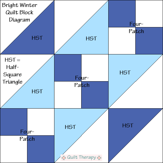 """Bright Winter Quilt Block Diagram Free Pattern for 12"""" finished quilt block at QuiltTherapy.com!"""