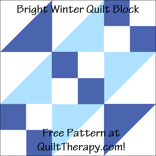 """Bright Winter Quilt Block Free Pattern for a 12"""" quilt block at QuiltTherapy.com!"""