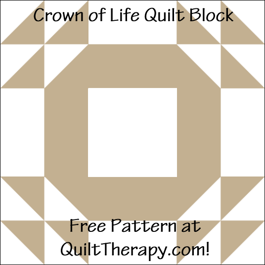 """Crown of Life Quilt Block Free Pattern for a 12"""" quilt block at QuiltTherapy.com!"""
