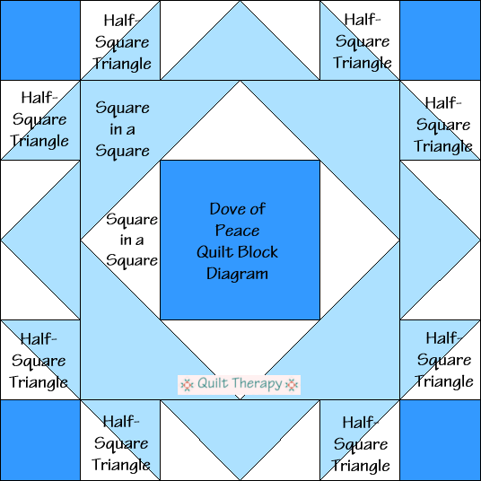 """Dove of Peace Quilt Block Diagram Free Pattern for 12"""" finished quilt block at QuiltTherapy.com!"""