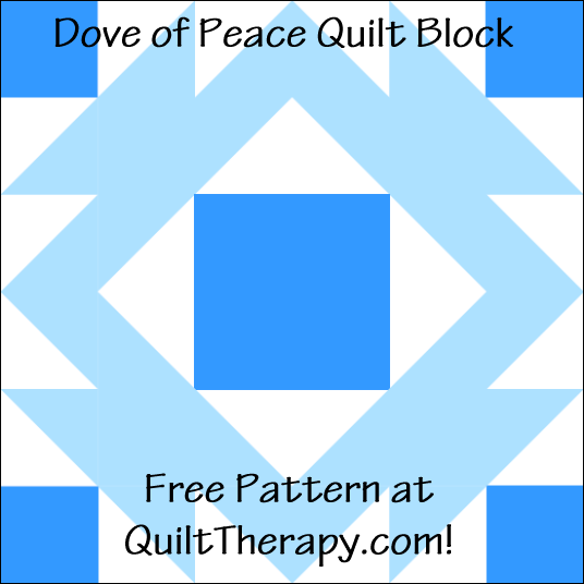 """Dove of Peace Quilt Block Free Pattern for a 12"""" quilt block at QuiltTherapy.com!"""
