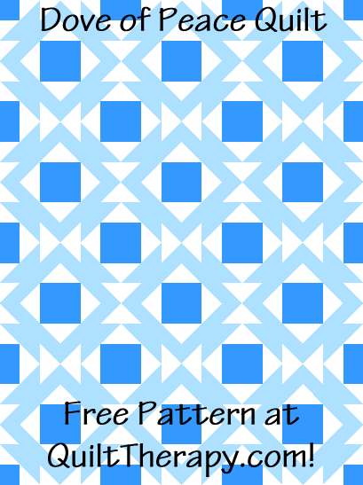 """Dove of Peace Quilt Free Pattern for a 36"""" x 48"""" quilt at QuiltTherapy.com!"""