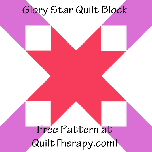 "Glory Star Quilt Block Free Pattern for a 12"" quilt block at QuiltTherapy.com!"