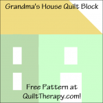"""Grandma's House Quilt Block Free Pattern for a 12"""" quilt block at QuiltTherapy.com!"""