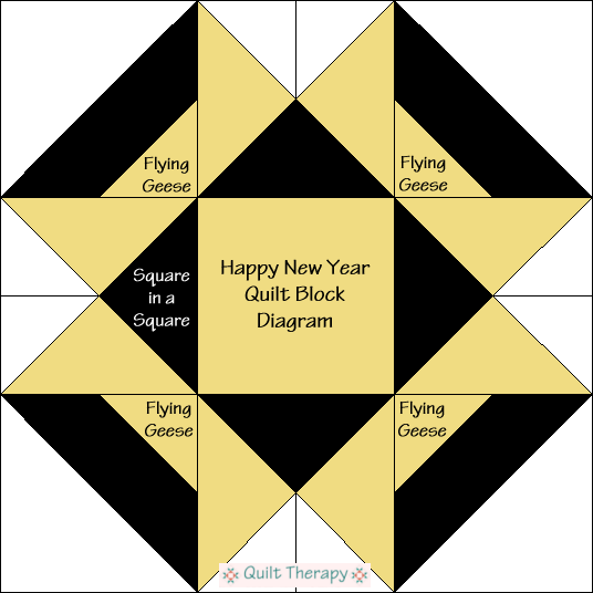 """Happy New Year Quilt Block Diagram Free Pattern for 12"""" finished quilt block at QuiltTherapy.com!"""