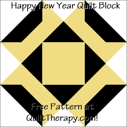 """Happy New Year Quilt Block Free Pattern for a 12"""" quilt block at QuiltTherapy.com!"""