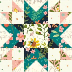 "Amish Star Quilt Block from the ""Graceful Garden"" 2021 BOM Quilt! A Free Pattern Featured at BOMquilts.com!"