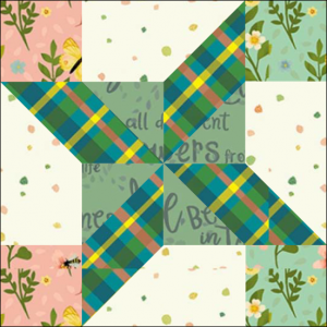 "Clay's Choice Quilt Block Two from the ""Graceful Garden"" 2021 BOM Quilt! A Free Pattern Featured at BOMquilts.com!"