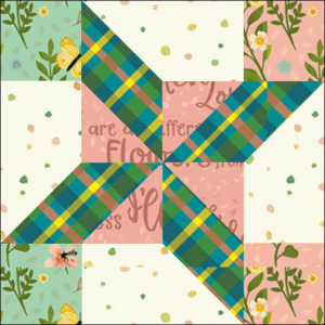 "Clay's Choice Quilt Block One from the ""Graceful Garden"" 2021 BOM Quilt! A Free Pattern Featured at BOMquilts.com!"