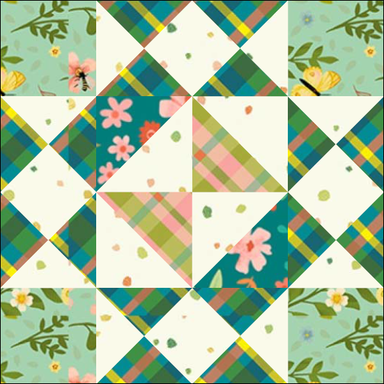 """Girl's Favorite Quilt Block Four from the """"Graceful Garden"""" 2021 BOM Quilt! A Free Pattern Featured at BOMquilts.com!"""