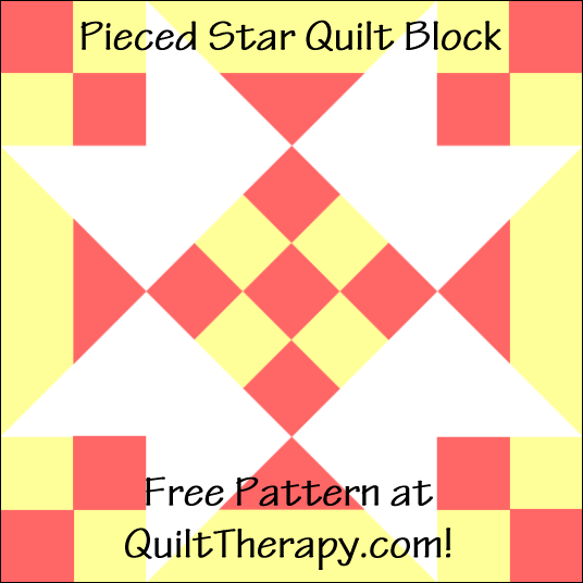 """Pieced Star Quilt Block Free Pattern for a 12"""" quilt block at QuiltTherapy.com!"""