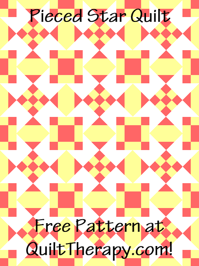 """Pieced Star Quilt Free Pattern for a 36"""" x 48"""" quilt at QuiltTherapy.com!"""