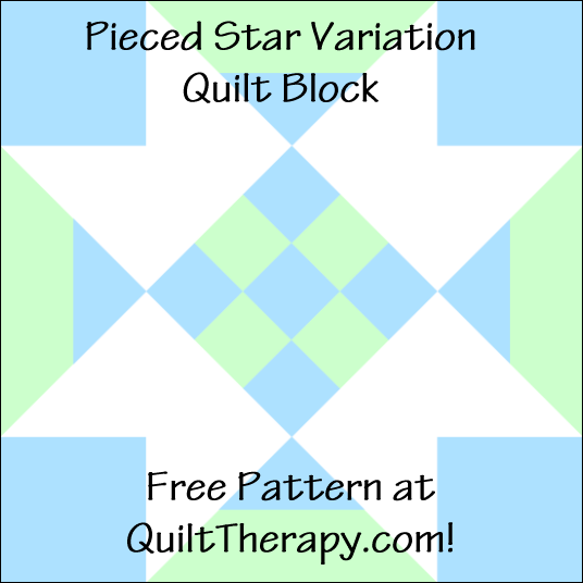 """Pieced Star Variation Quilt Block Free Pattern for a 12"""" quilt block at QuiltTherapy.com!"""