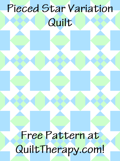 """Pieced Star Variation Quilt Block Diagram Free Pattern for 12"""" finished quilt block at QuiltTherapy.com!"""