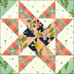 "Stars & Pinwheels Quilt Block Two from the ""Graceful Garden"" 2021 BOM Quilt! A Free Pattern Featured at BOMquilts.com!"
