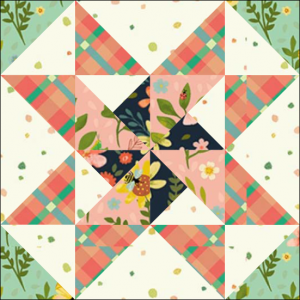 "Stars & Pinwheels Quilt Block One from the ""Graceful Garden"" 2021 BOM Quilt! A Free Pattern Featured at BOMquilts.com!"
