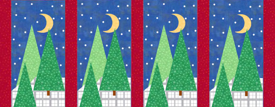 Winter Wonderland Quilt Row with Four Tree Quilt Blocks! A Free Pattern for Member's at Quilt Dash!