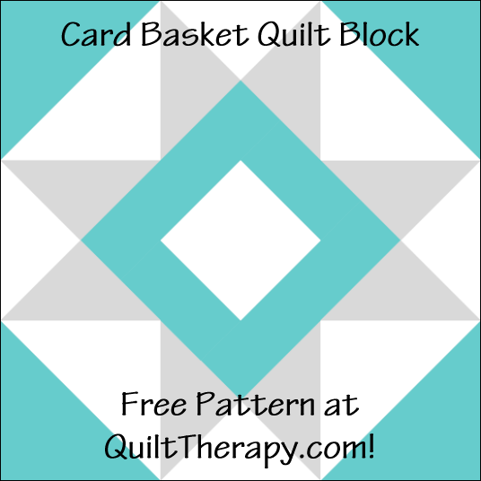 """Card Basket Quilt Block Free Pattern for a 12"""" quilt block at QuiltTherapy.com!"""