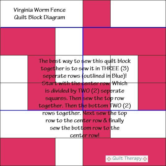 """Virginia Worm Fence Quilt Block Diagram Free Pattern for 12"""" finished quilt block at QuiltTherapy.com!"""