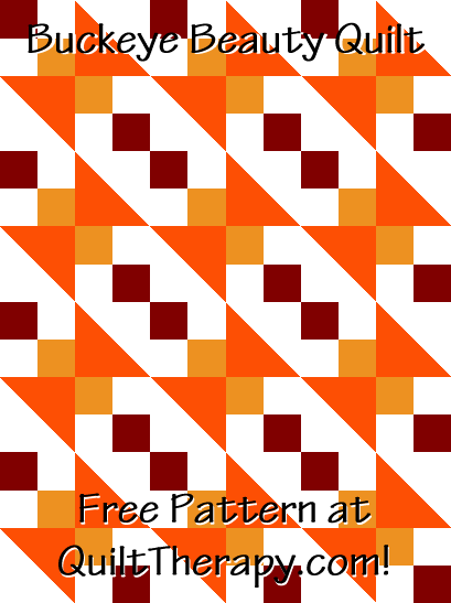 """Buckeye Beauty Quilt a Free Pattern for a 36"""" x 48"""" quilt at QuiltTherapy.com!"""