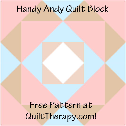 "Handy Andy Quilt Block a Free Pattern for a 12"" quilt block at QuiltTherapy.com!"