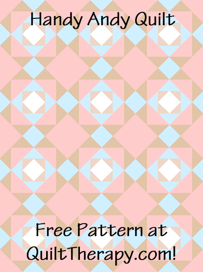 "Handy Andy Quilt a Free Pattern for a 36"" x 48"" quilt at QuiltTherapy.com!"