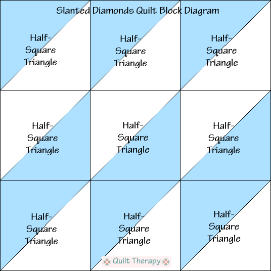 "Slanted Diamonds Quilt Block Diagram a Free Pattern for 12"" finished quilt block at QuiltTherapy.com!"