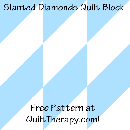 "Slanted Diamonds Quilt Block a Free Pattern for a 12"" quilt block at QuiltTherapy.com!"