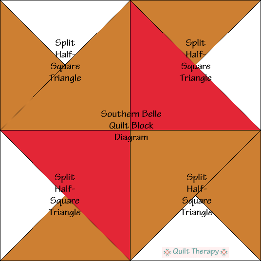 """Southern Belle Quilt Block Diagram a Free Pattern for 12"""" finished quilt block at QuiltTherapy.com!"""