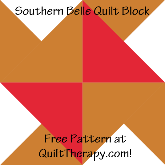"""Southern Belle Quilt Block a Free Pattern for a 12"""" quilt block at QuiltTherapy.com!"""