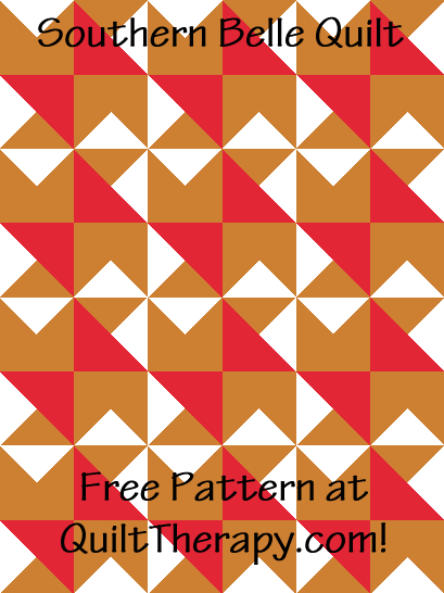 """Southern Belle Quilt a Free Pattern for a 36"""" x 48"""" quilt at QuiltTherapy.com!"""