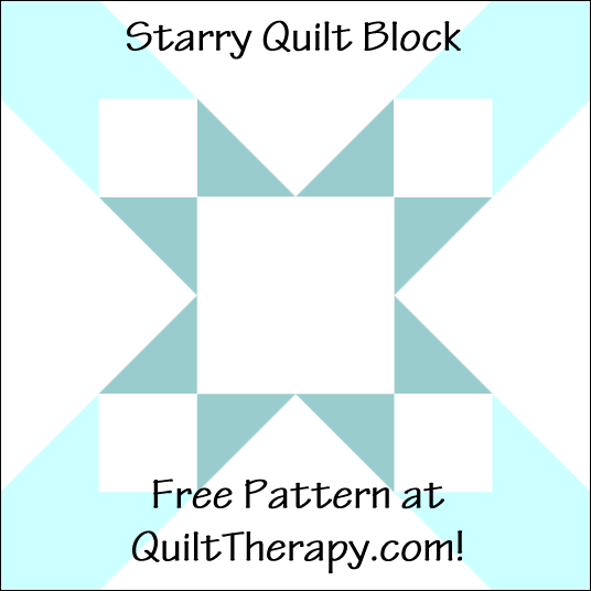 "Starry Quilt Block a Free Pattern for a 12"" quilt block at QuiltTherapy.com!"
