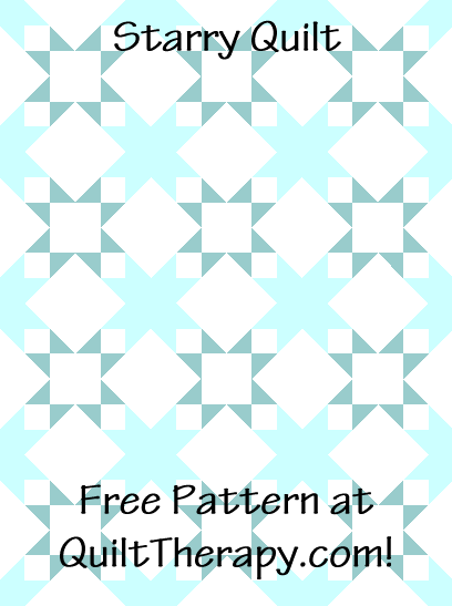 """Starry Quilt a Free Pattern for a 36"""" x 48"""" quilt at QuiltTherapy.com!"""