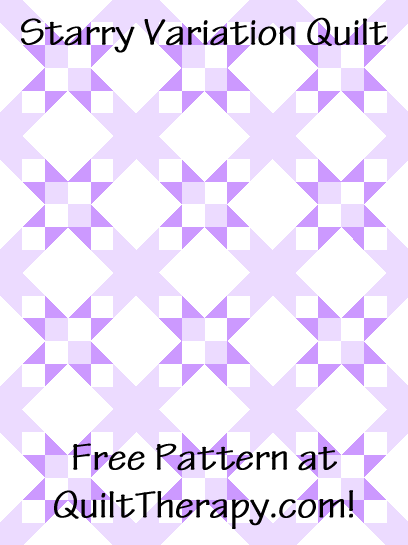 """Starry Variation Quilt a Free Pattern for a 36"""" x 48"""" quilt at QuiltTherapy.com!"""