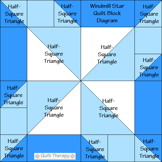 """Windmill Star Quilt Block Diagram a Free Pattern for 12"""" finished quilt block at QuiltTherapy.com!"""