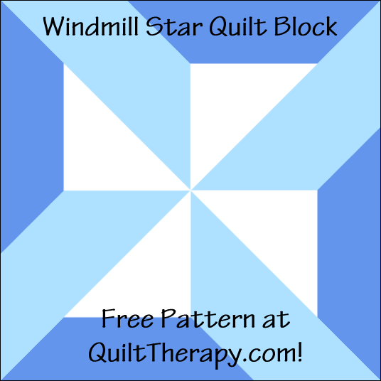 """Windmill Star Quilt Block a Free Pattern for a 12"""" quilt block at QuiltTherapy.com!"""