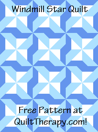"""Windmill Star Quilt a Free Pattern for a 36"""" x 48"""" quilt at QuiltTherapy.com!"""