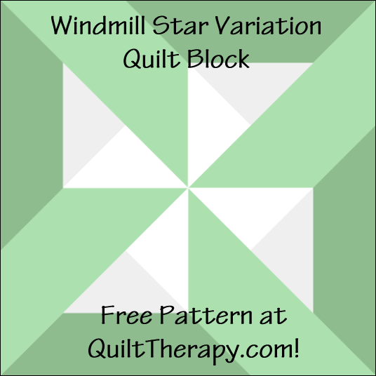 """Windmill Star Variation Block a Free Pattern for a 12"""" quilt block at QuiltTherapy.com!"""