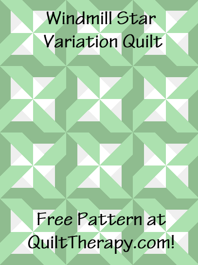 """Windmill Star Variation Quilt a Free Pattern for a 36"""" x 48"""" quilt at QuiltTherapy.com!"""