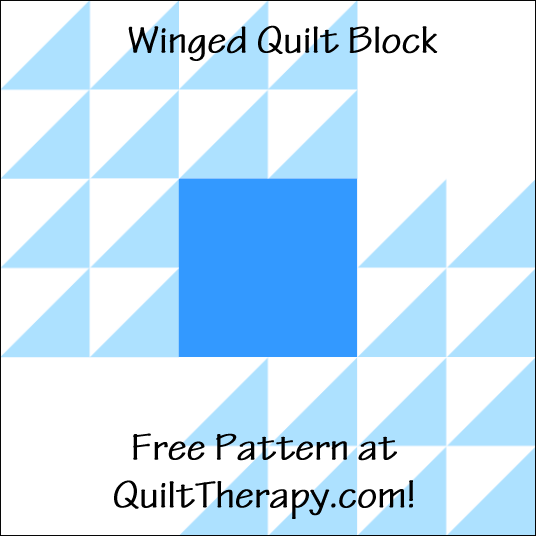 "Winged Quilt Block a Free Pattern for a 12"" quilt block at QuiltTherapy.com!"