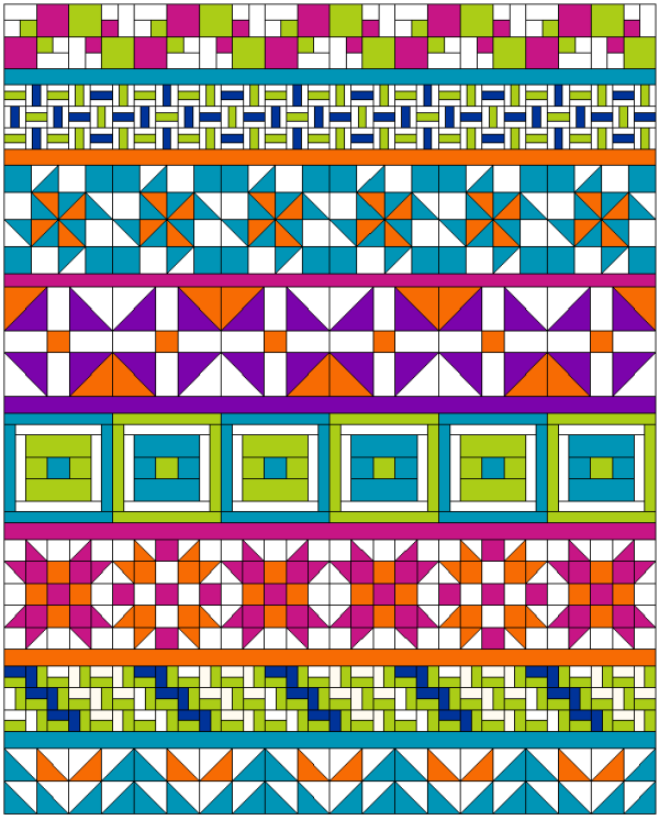 """""""Show Row"""" a Free Row of the Month (or Row) Quilt Pattern designed by the American Quilter's Society from AQS Blog"""
