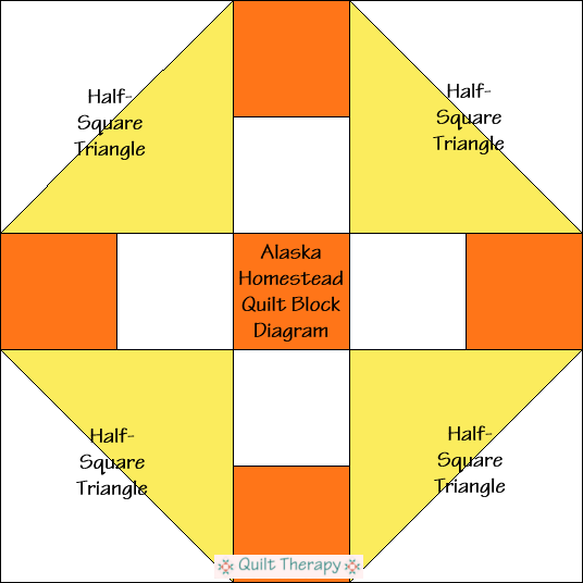 """Alaska Homestead Quilt Block Diagram is a Free Pattern for 12"""" finished quilt block at QuiltTherapy.com!"""
