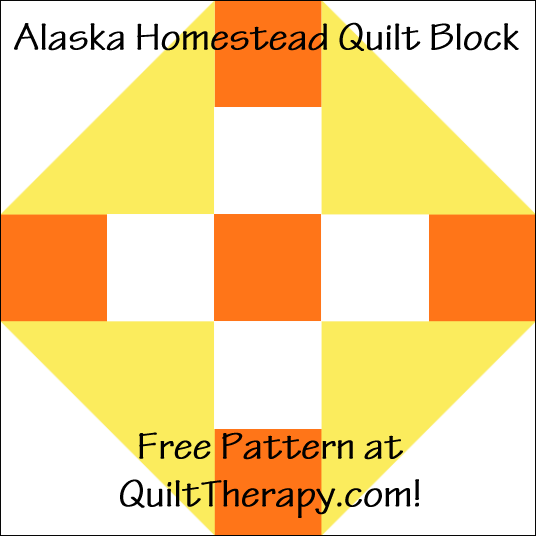 """Alaska Homestead Quilt Block is a Free Pattern for a 12"""" quilt block at QuiltTherapy.com!"""