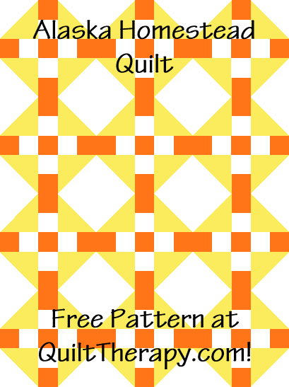 """Alaska Homestead Quilt is a Free Pattern for a 36"""" x 48"""" quilt at QuiltTherapy.com!"""