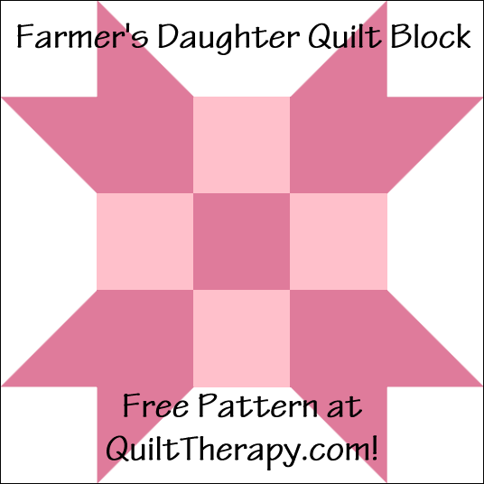 """Farmer's Daughter Quilt Block is a Free Pattern for a 12"""" quilt block at QuiltTherapy.com!"""