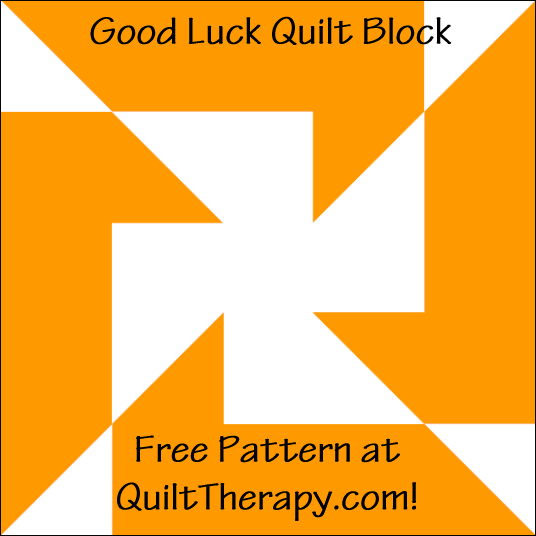 """Good Luck Quilt Block is a Free Pattern for a 12"""" quilt block at QuiltTherapy.com!"""