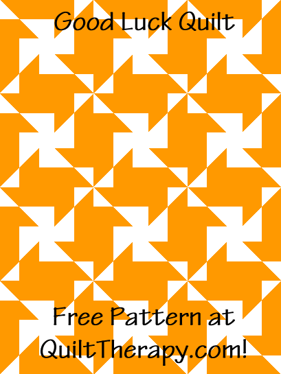"""Good Luck Quilt is a Free Pattern for a 36"""" x 48"""" quilt at QuiltTherapy.com!"""